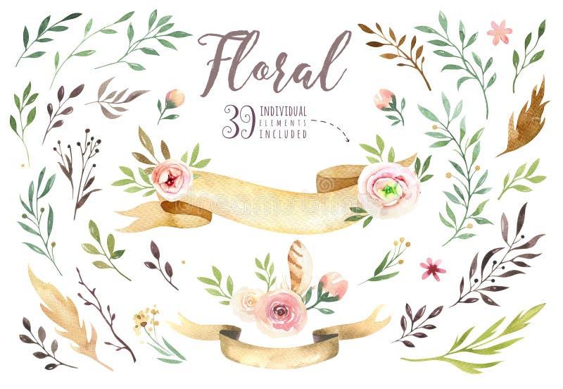 Remettez à aquarelle de boho d'isolement par dessin l'illustration florale avec des feuilles, branches, fleurs Art de Bohème de v illustration libre de droits
