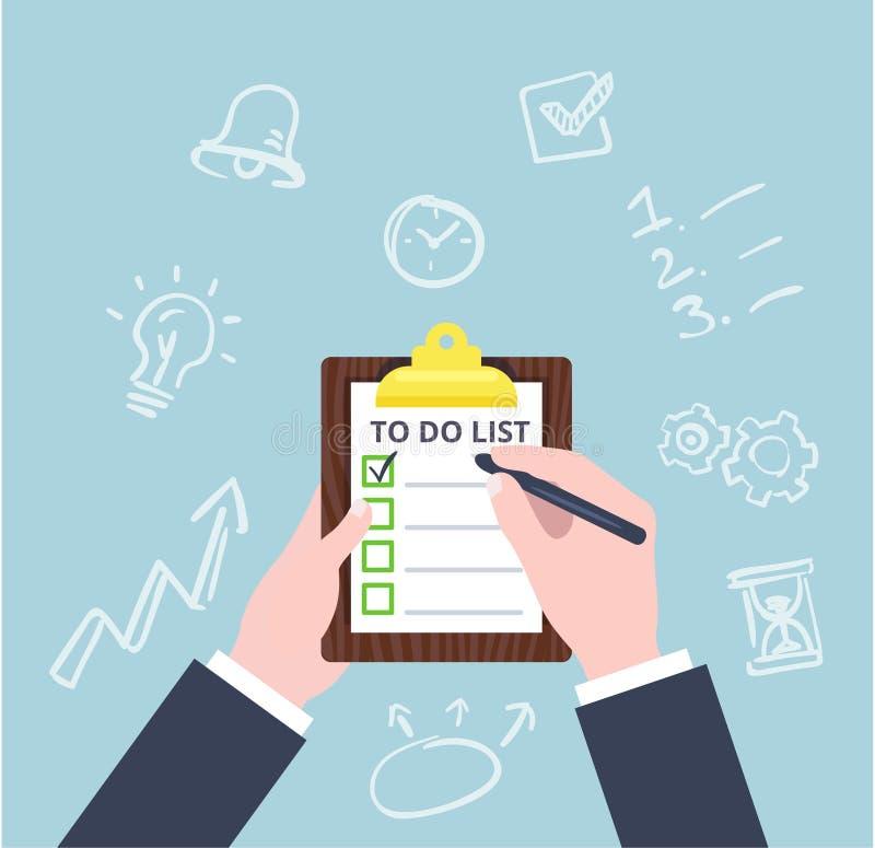 Remettez à contrôle le concept d'affaires de liste de contrôle dans le style plat Pour faire la grosse illustration de vecteur de illustration stock
