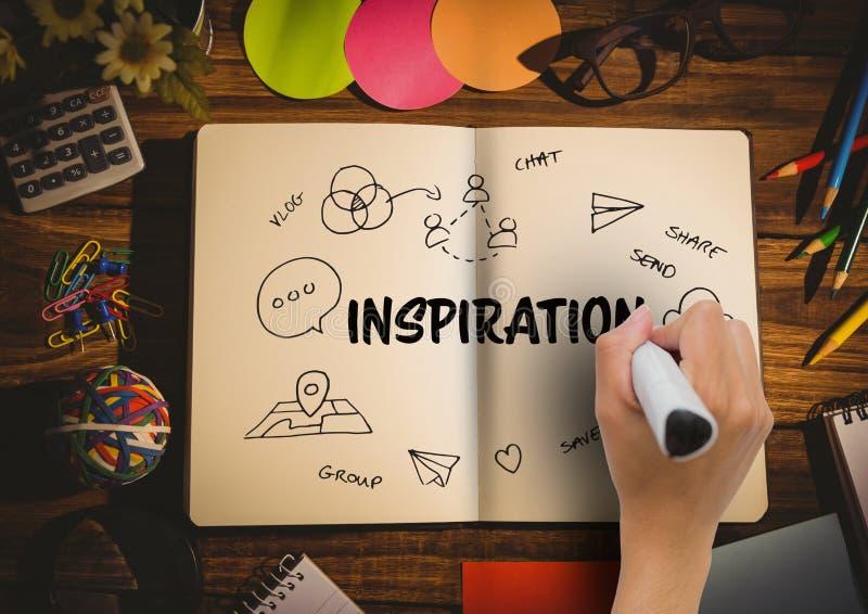 Remettez à dessin dans un carnet un graphique au sujet de l'inspiration illustration libre de droits