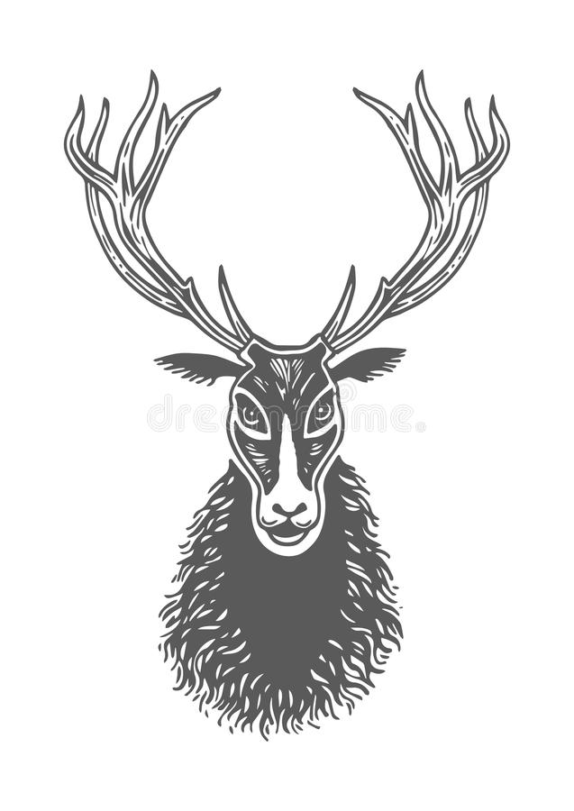 remettez encre de dessin le visage noir et blanc de cerfs communs la patte empreinte de pas. Black Bedroom Furniture Sets. Home Design Ideas