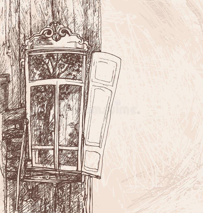 Remettez fen tre en bois de dessin la r tro illustration for Fenetre en ogive