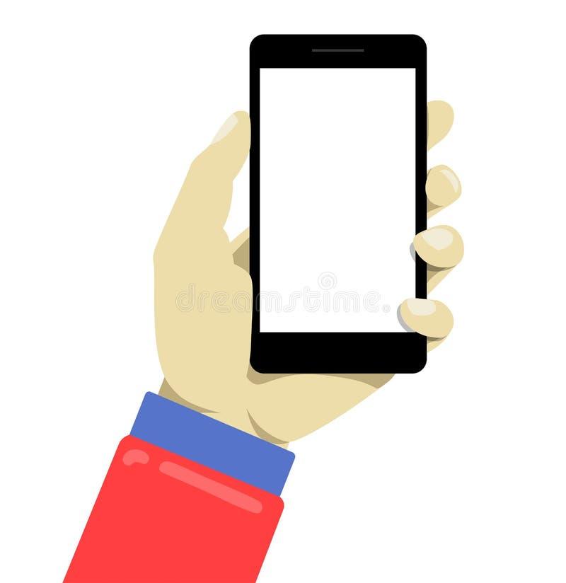 Remettez à holdng le smartphone noir, écran vide émouvant Illustration moderne de style simple illustration libre de droits