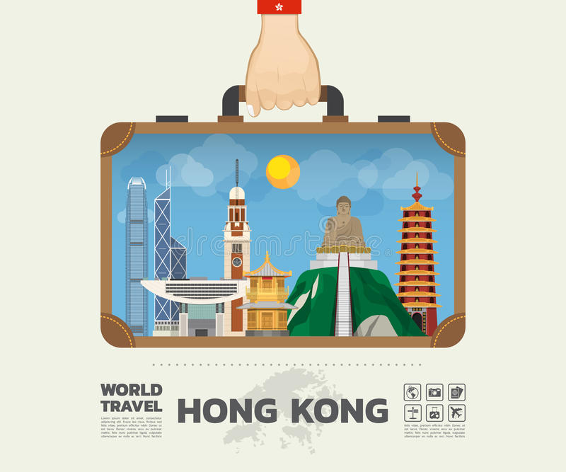 Remettez à point de repère de transport de Hong Kong le voyage et le voyage globaux Infog illustration libre de droits