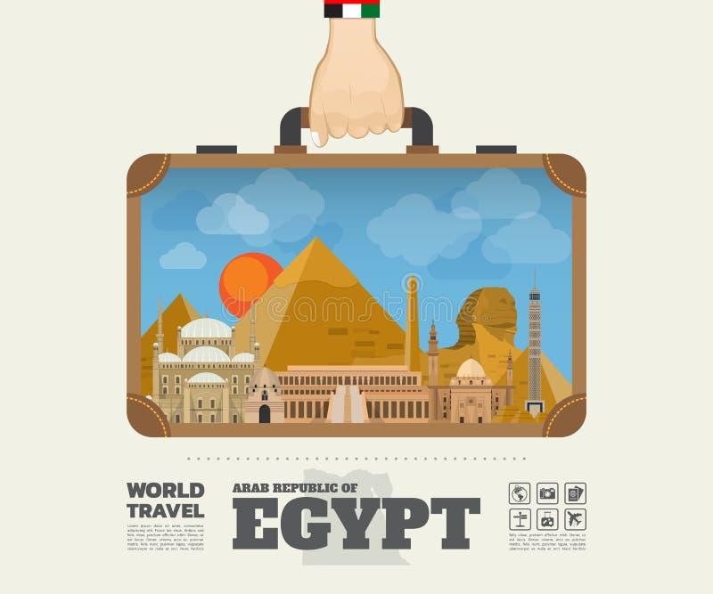 Remettez à point de repère de transport de l'Egypte le voyage et le voyage globaux Infograph illustration stock