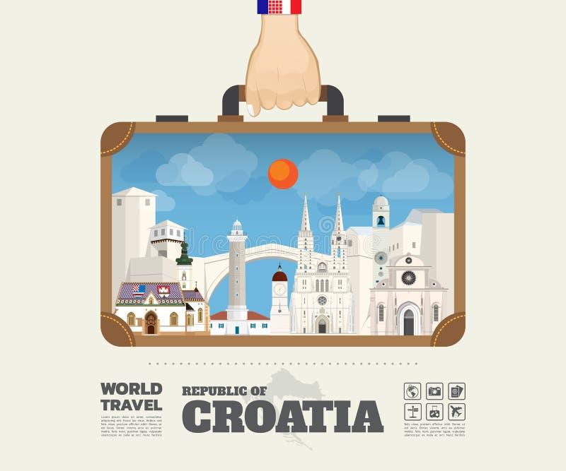 Remettez à point de repère de transport de la Croatie le voyage et le voyage globaux Infogra illustration libre de droits
