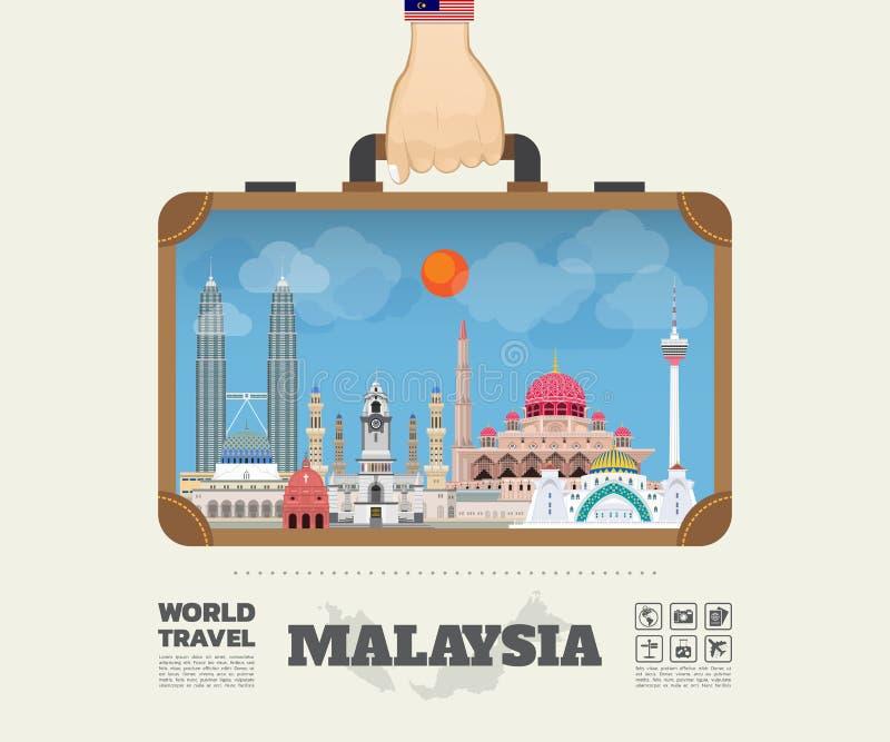 Remettez à point de repère de transport de la Malaisie le voyage et le voyage globaux illustration libre de droits