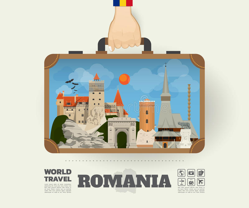 Remettez à point de repère de transport de la Roumanie le voyage et le voyage globaux illustration de vecteur