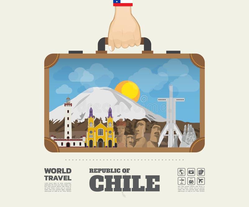 Remettez à point de repère de transport de piment le voyage et le voyage globaux Infograph illustration stock
