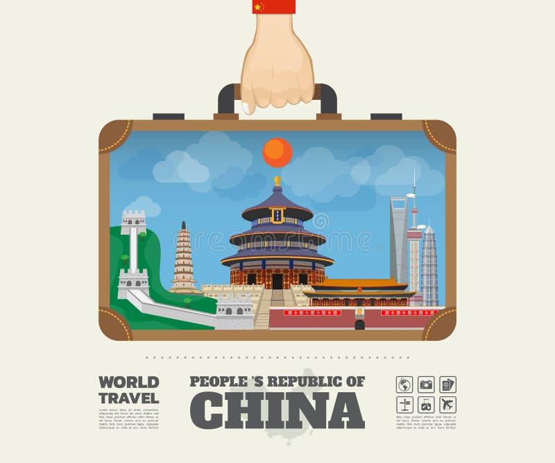 Remettez à point de repère de transport de porcelaine le voyage et le voyage globaux illustration stock