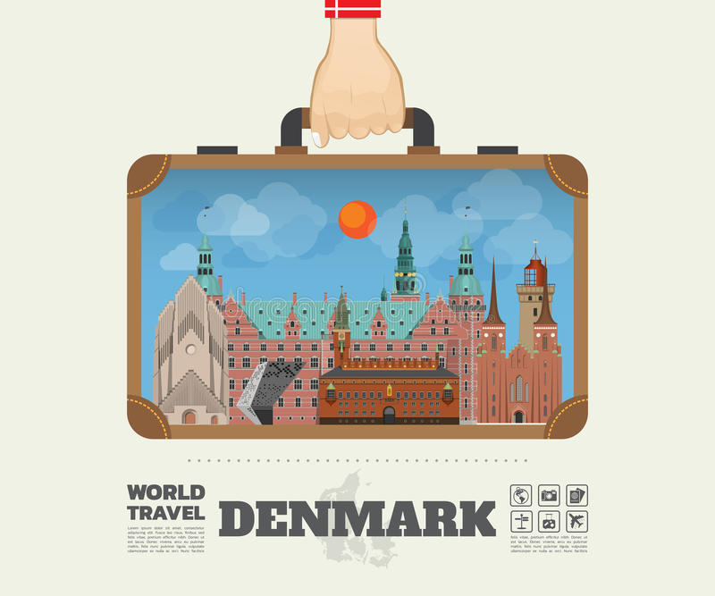 Remettez à point de repère de transport du Danemark le voyage et le voyage globaux Infogra illustration de vecteur