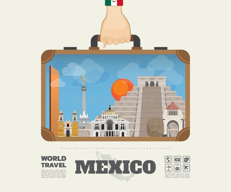 Remettez à point de repère de transport du Mexique le voyage et le voyage globaux illustration stock