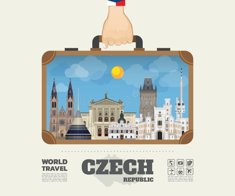 Remettez à point de repère tchèque de transport le voyage et le voyage globaux Infograph illustration libre de droits