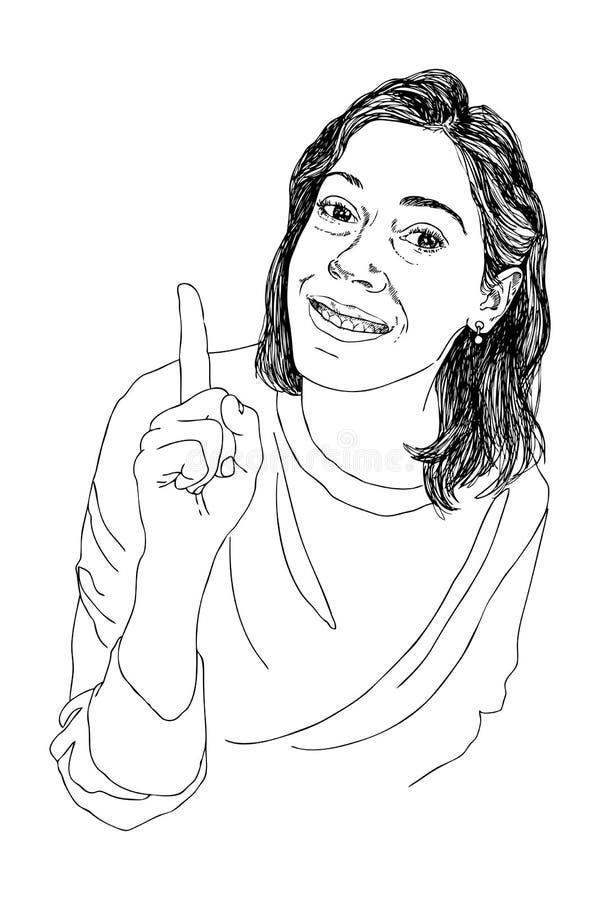 Remettez à portrait de conception de personnages d'aspiration une jeune femme souriant et soulevant son style d'index Type de cro images libres de droits