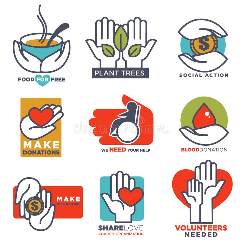 Remettez à vecteur d'icônes les calibres plats de mains pour le social, la nourriture, la donation de charité ou la conception mé illustration de vecteur