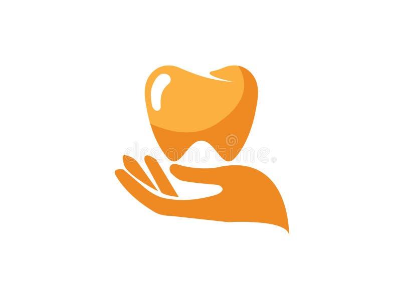 Remettez cet entretenir la dent et la bouche saine tenant une dent pour la conception de logo illustration stock