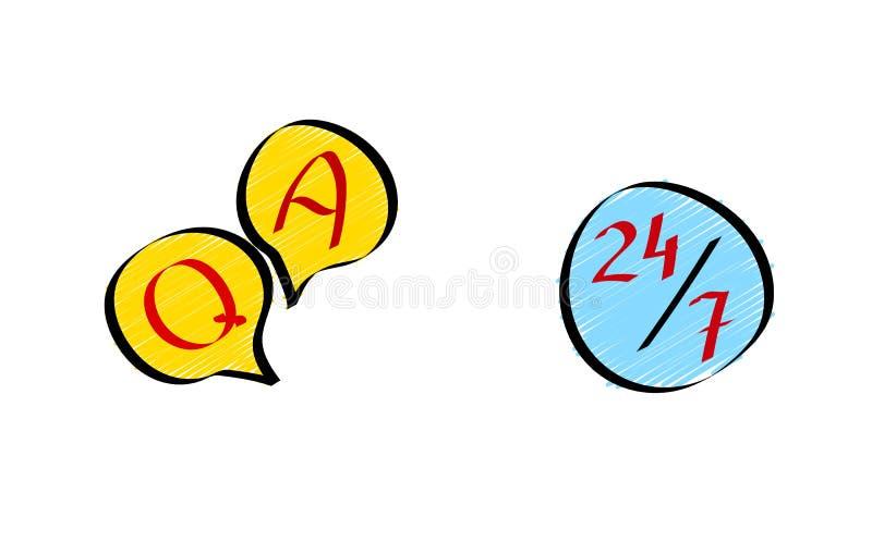 Remettez en cause et répondez au service à la clientèle en ligne 24/7 Icônes réglées dans le style de griffonnage illustration de vecteur