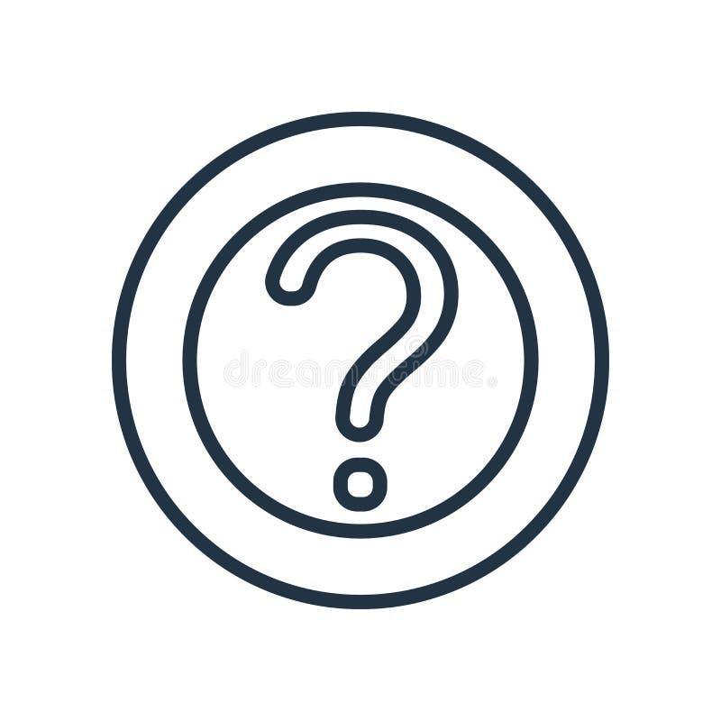 Remettez en cause le vecteur d'icône d'isolement sur le fond blanc, signe de question illustration stock