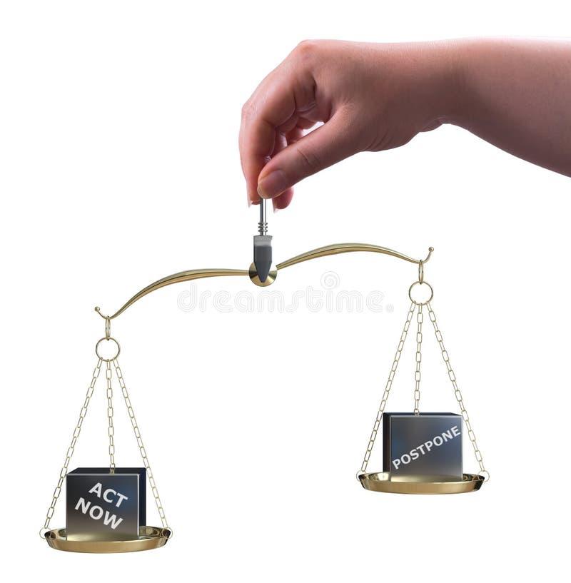 Remettez et agissez à plus tard maintenant équilibre illustration de vecteur