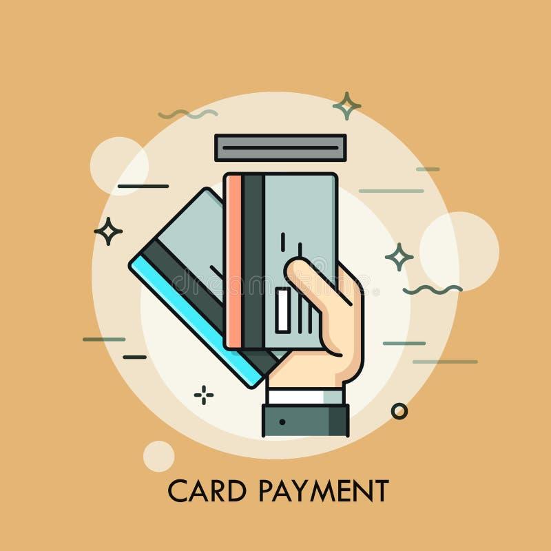 Remettez insérer la carte de crédit ou de débit dans la fente Méthode de paiement, retrait d'argent, service d'atmosphère, concep illustration libre de droits