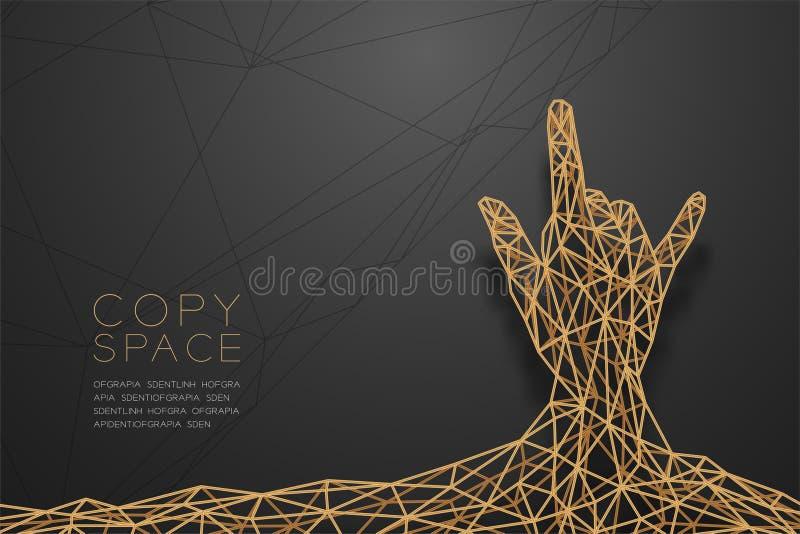 Remettez je t'aime à polygone de wireframe de vue de dos de forme de langue des signes la structure d'or de cadre, illustration d illustration stock