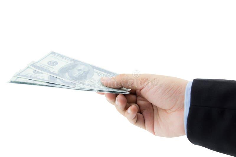 Remettez juger 100 billets d'un dollar d'isolement sur le fond blanc photo stock