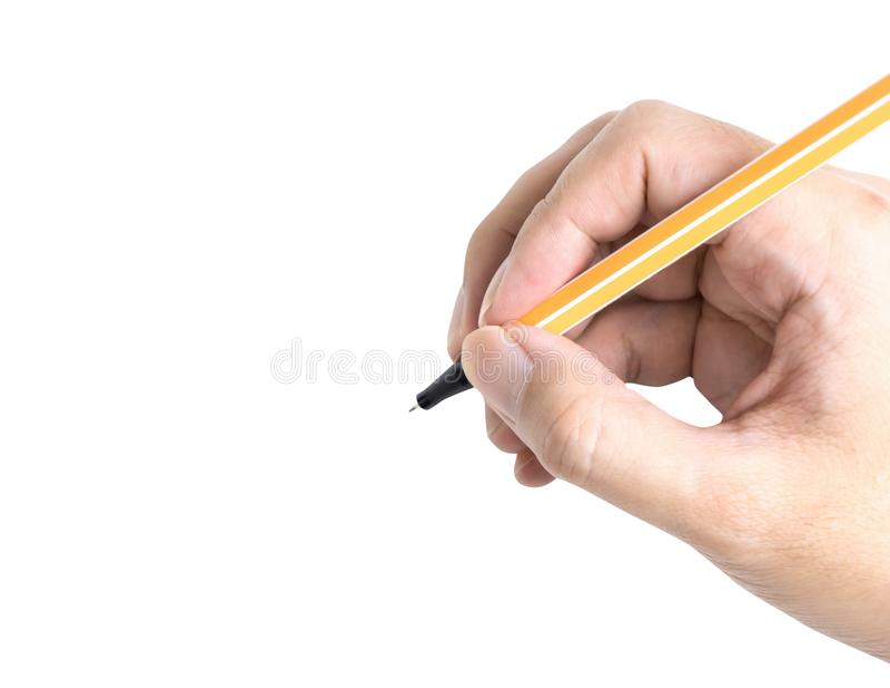 Remettez juger l'écriture jaune de stylo d'isolement sur le blanc images stock