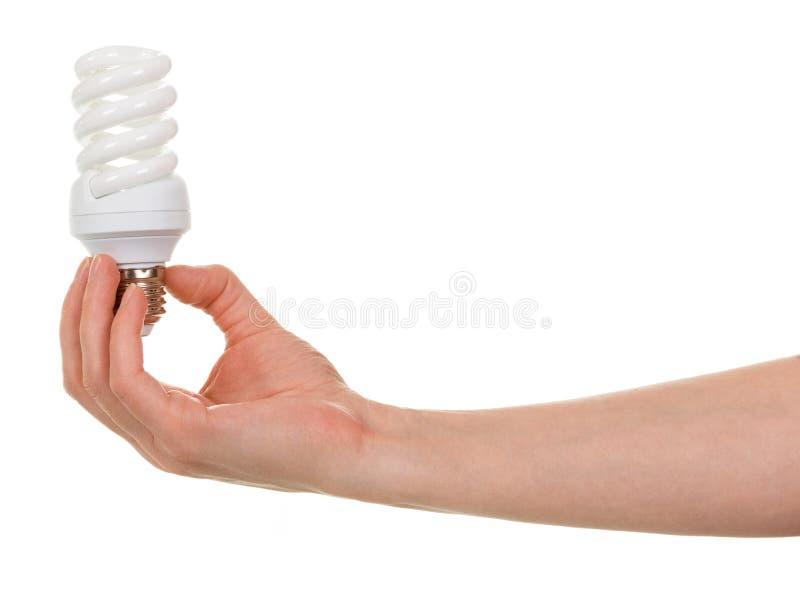 Remettez juger la lampe fluorescente en forme de spirale compacte d'isolement sur le blanc image libre de droits