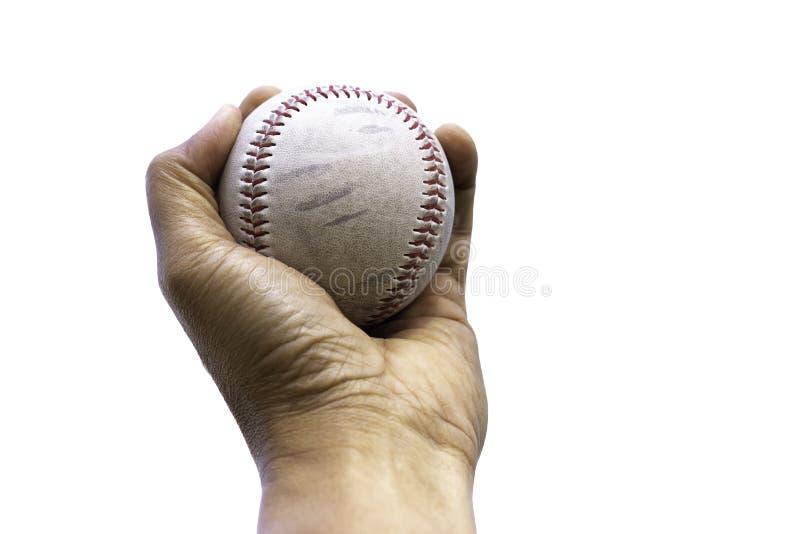 Remettez juger le base-ball dessus d'isolement à l'arrière-plan blanc photo stock