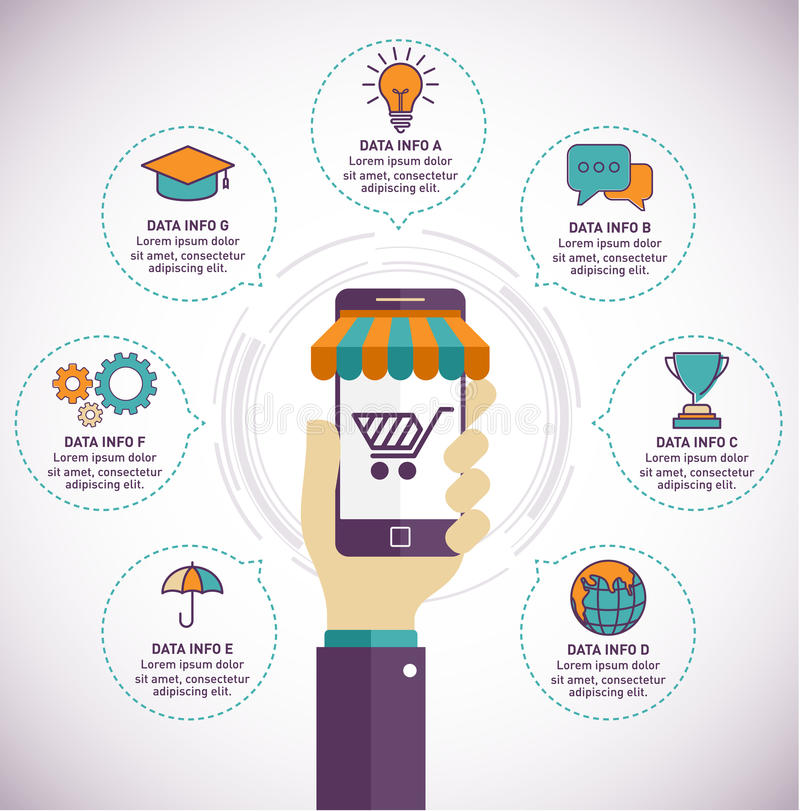 Remettez juger le smartphone avec des affaires illustration infographic et plate de style de conception illustration libre de droits