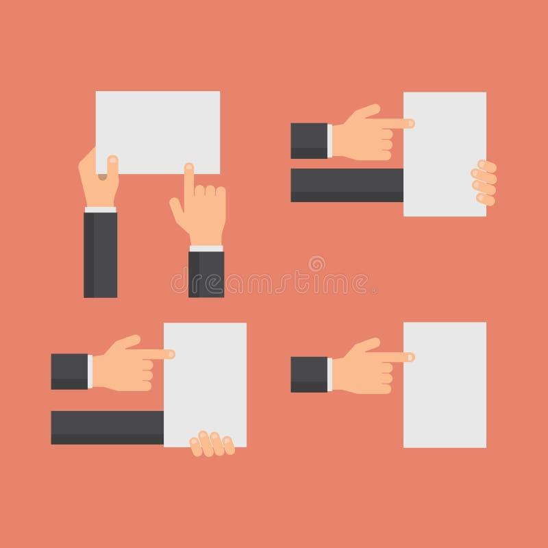 Remettez juger les bannières vides et les mains blanches indiquant l'ensemble de papier vide de vecteur de feuille à plat illustration libre de droits
