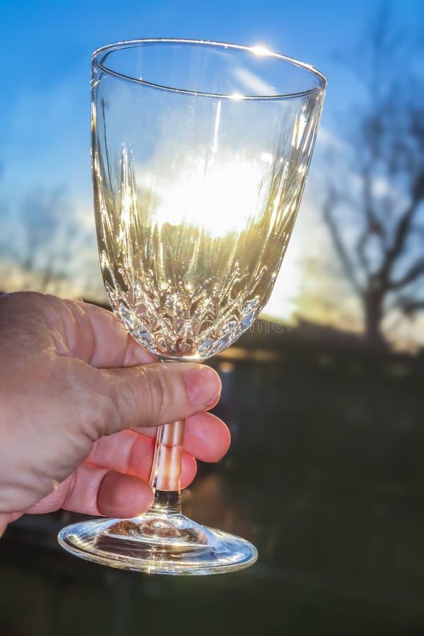 Remettez juger un verre de vin en cristal haute et la lumière brillant par elle - le tir extérieur avec l'arbre brouillé et la fi photo libre de droits