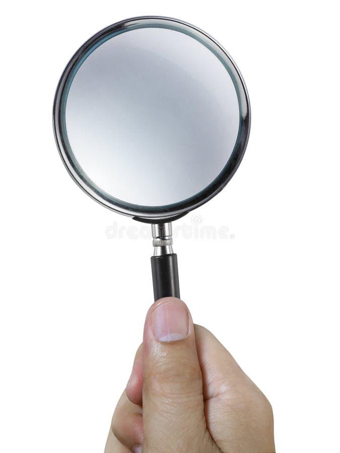 Remettez juger une loupe d'isolement sur un fond blanc photo libre de droits