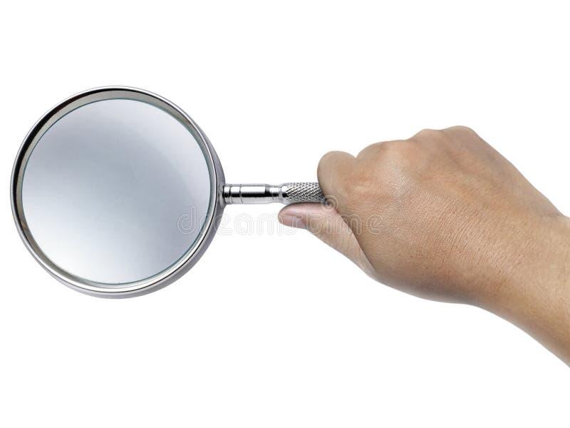 Remettez juger une loupe d'isolement sur un fond blanc photo stock