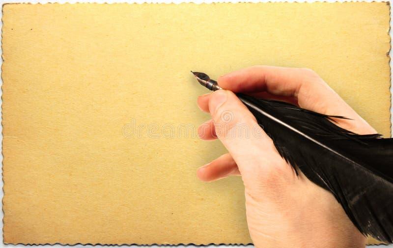 Remettez l'écriture avec la cannette sur la vieille carte postale sale photo stock