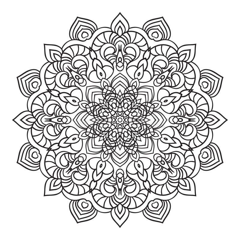 Remettez l'élément fleuri de dessin de mandala dans le style oriental illustration de vecteur