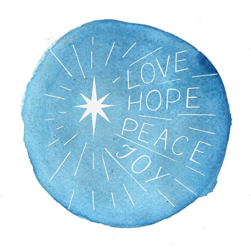 Remettez l'amour de lettrage, espoir, la paix, joie sur le fond bleu d'aquarelle illustration de vecteur