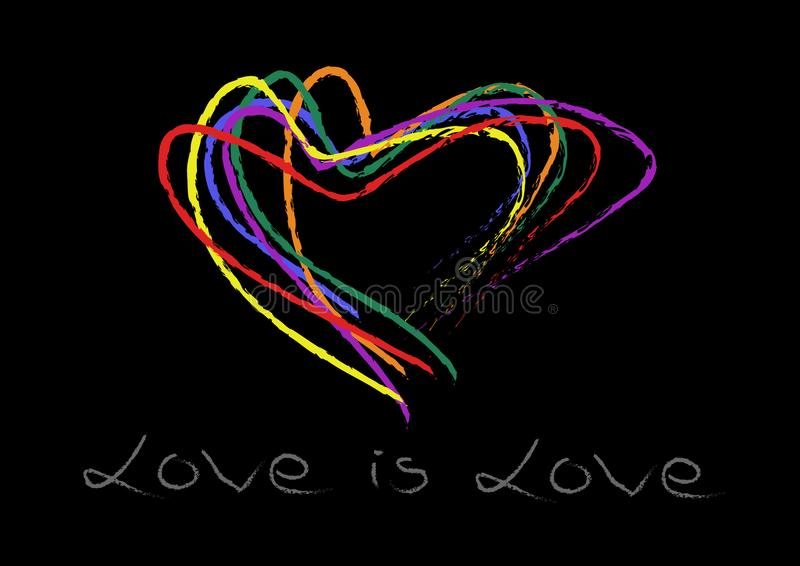 Remettez l'arc-en-ciel de forme de coeurs d'écriture coloré sur le fond noir L'amour est écriture de main d'amour Appui d'amour d photos stock