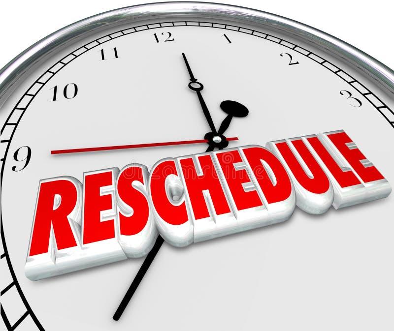 Remettez l'horloge à plus tard défunt Apponitment Cance de mots d'ajournement de retard illustration de vecteur