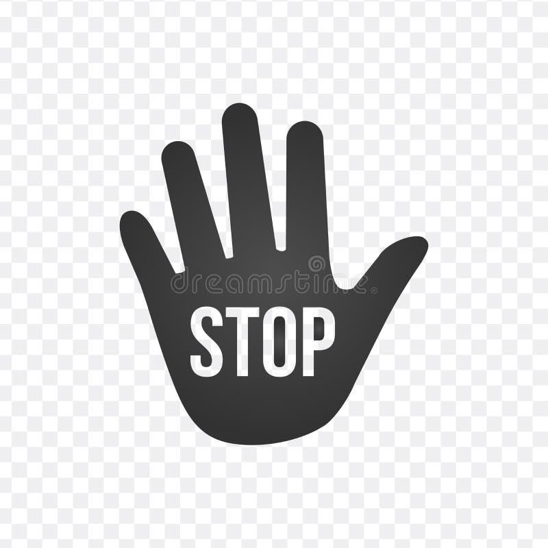 Remettez l'icône de vecteur avec le signe d'arrêt, illustration de vecteur illustration stock