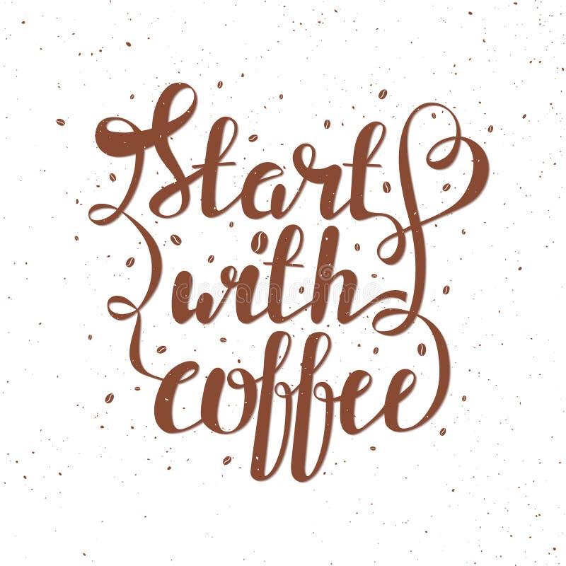 Remettez l'illustration de vecteur de lettrage d'aspiration avec des grains de café et citez illustration de vecteur
