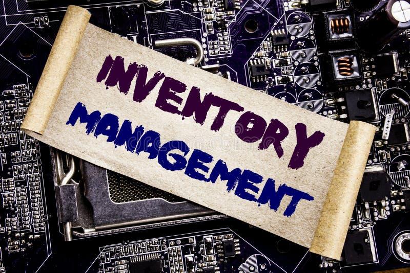 Remettez l'inspiration de légende des textes d'écriture montrant la gestion des stocks Concept d'affaires pour l'approvisionnemen photos stock