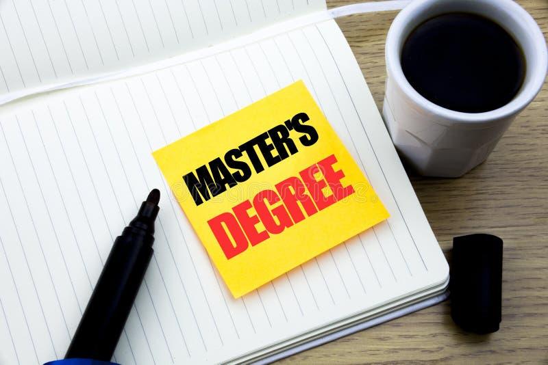 Remettez l'inspiration de légende des textes d'écriture montrant le degré principal de s Concept d'affaires pour l'éducation scol image libre de droits