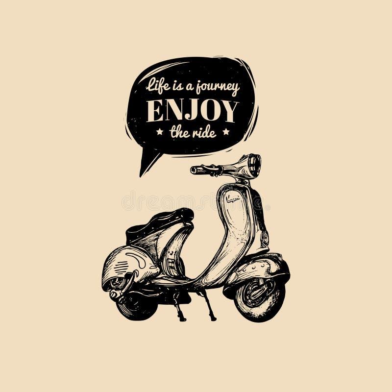 Remettez la bannière esquissée de scooter avec la vie de motivation de citation est un voyage, apprécie le tour dans la bulle de  illustration stock