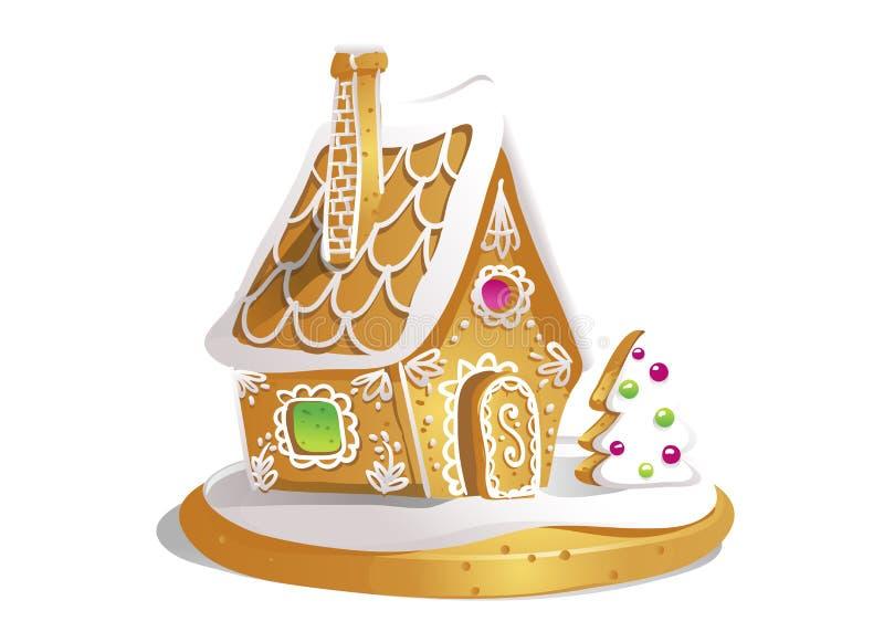 Remettez la maison de pain d'épice de drawnin d'isolement sur le fond blanc Biscuits de Noël Brown et couleurs blanches illustration de vecteur