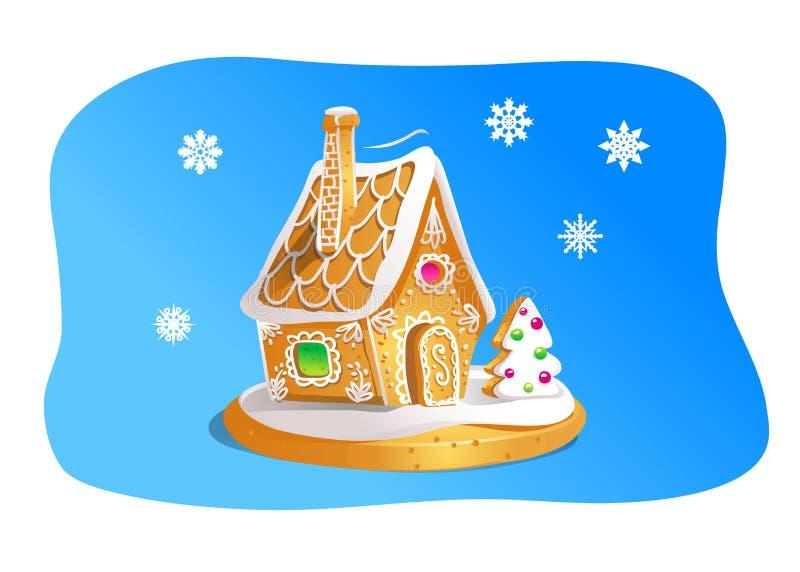 Remettez la maison de pain d'épice de drawnin d'isolement sur le fond bleu Biscuits de Noël Brown et couleurs blanches illustration libre de droits