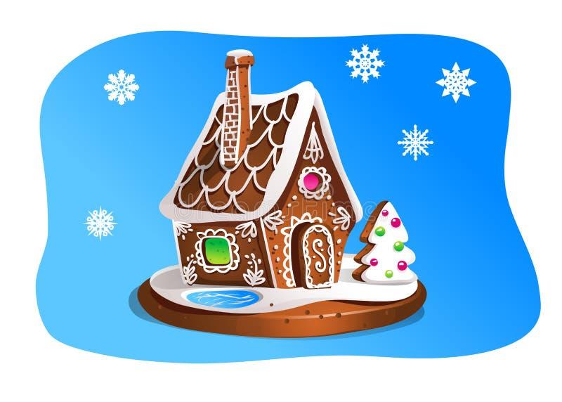 Remettez la maison de pain d'épice de drawnin d'isolement sur le fond bleu Biscuits de Noël Brown et couleurs blanches illustration de vecteur