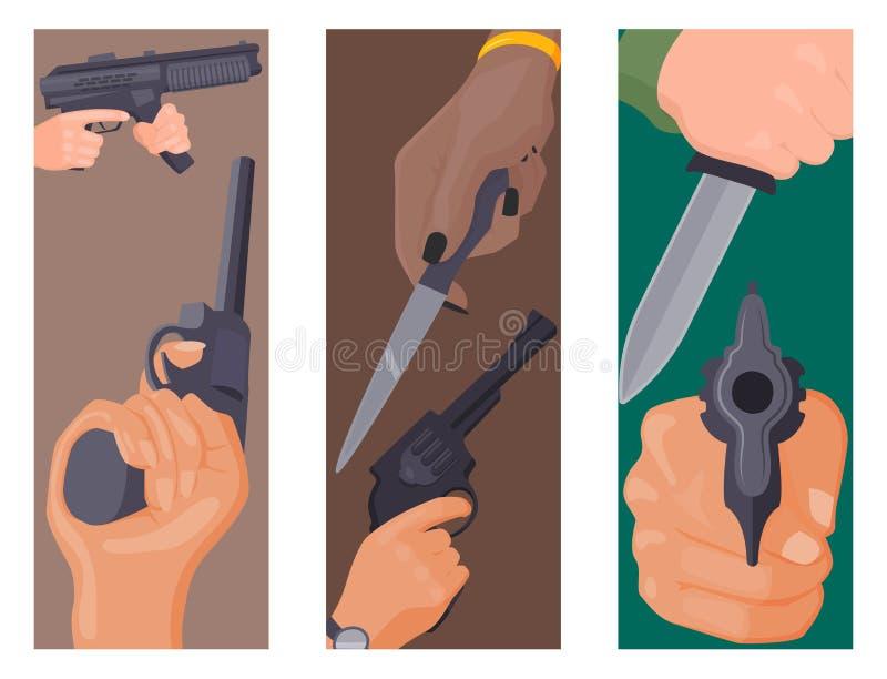 Remettez la mise à feu avec le vecteur de mains d'arme à feu de police militaire de crime de munitions de protection de cartes d' illustration de vecteur