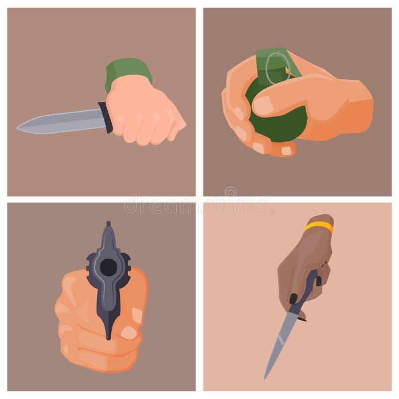 Remettez la mise à feu avec le vecteur de mains d'arme à feu de police militaire de crime de munitions de protection de cartes d' illustration stock