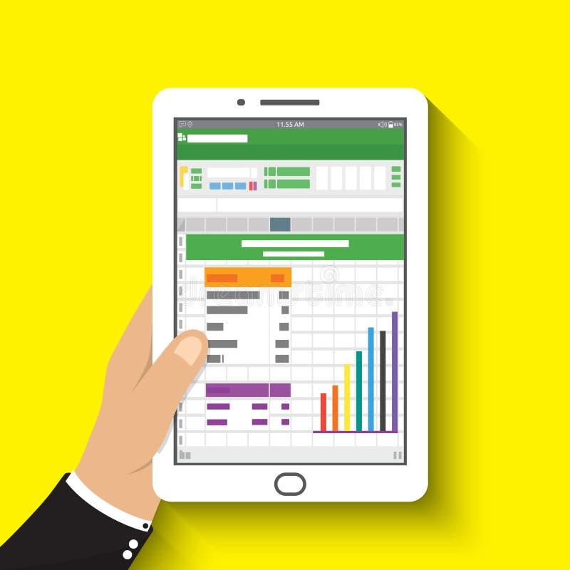 Remettez la tablette de fixation l'homme d'affaires a lu anal financier de feuille de calcul illustration de vecteur