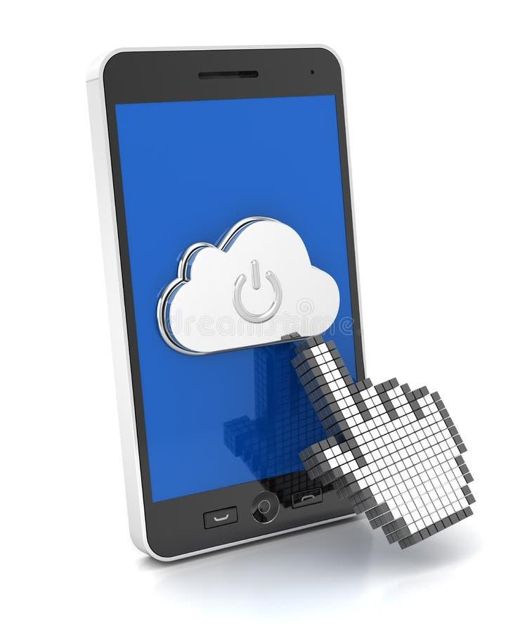 Remettez le bouton de nuage de pressing de curseur sur un smartphone illustration de vecteur